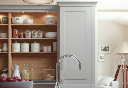 Burleigh-painted-light-grey-kitchen-cabinets from Riley James Kitchens Gloucestershire