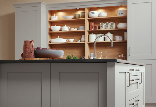 Burleigh painted light grey kitchen island cabinets from Riley James Kitchens Gloucestershire