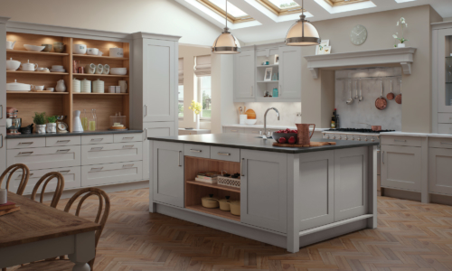 The Burleigh-painted-light-grey-kitchen from Rile James Kitchens Stroud