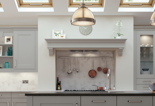 Burleigh painted light grey kitchen mantle shelf from Riley James Kitchens Gloucestershire