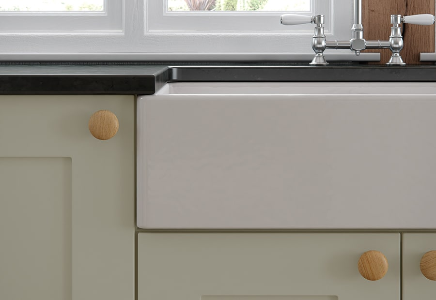 Burleigh painted mussel kitchen with Belfast sink from Riley James Kitchens Stroud