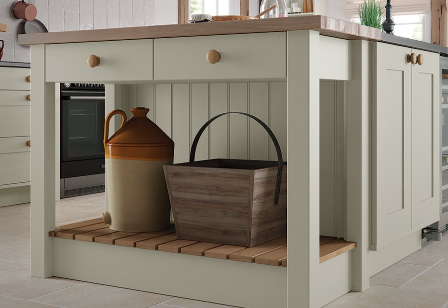 Burleigh-painted-mussel-kitchen-island from Riley James Kitchens Stroud