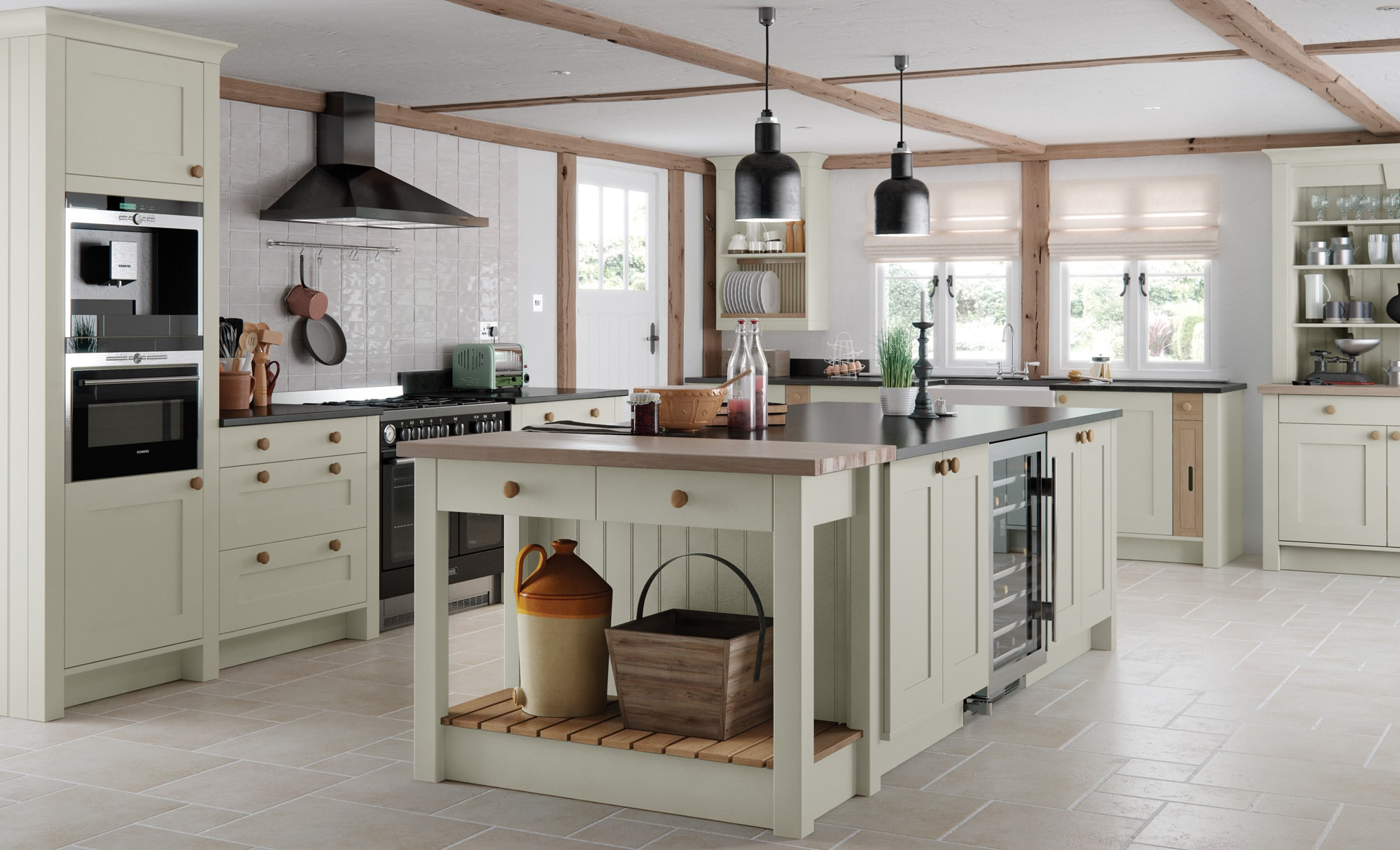 Burleigh-painted-mussel-kitchen-from Riley James Kitchens Stroud