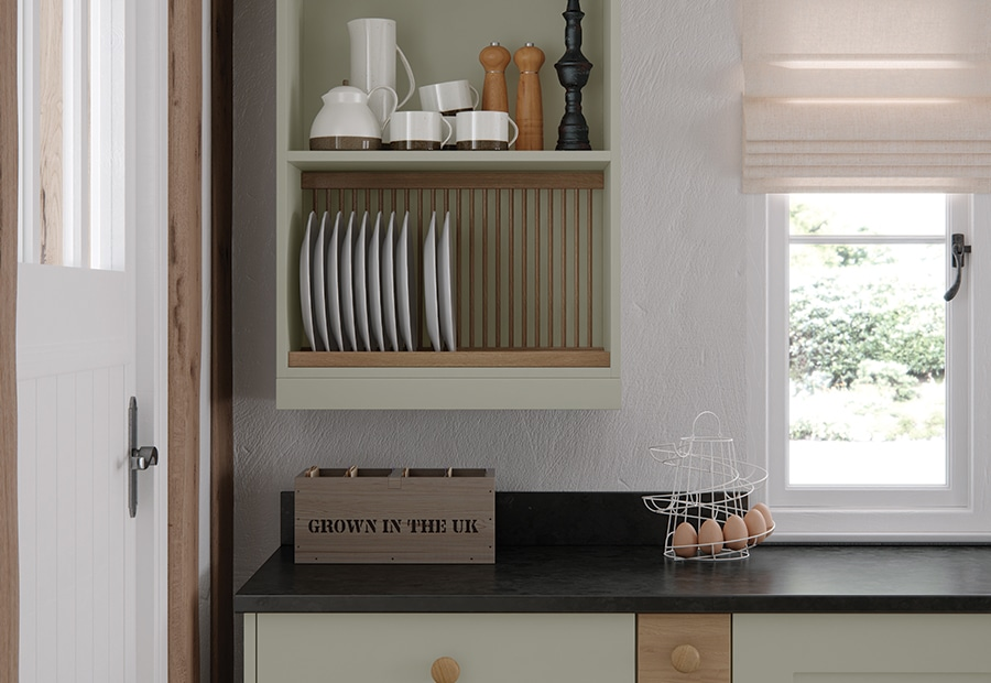 Burleigh-painted-mussel-kitchen-pelmet-plate-rack from Riley James Kitchens Stroud
