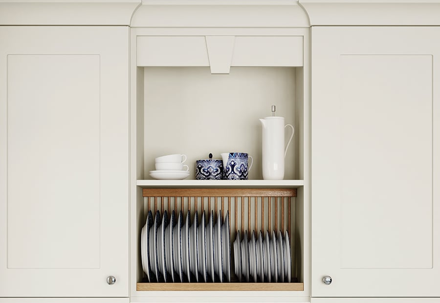 Burleigh painted porcelain kitchen with pelmet and plate rack - Riley James Kitchens Gloucestershire