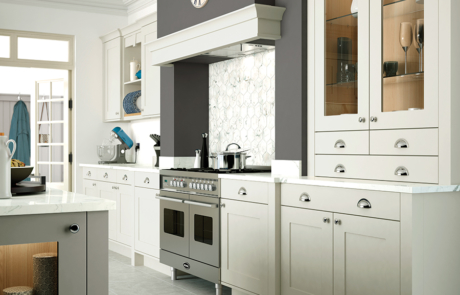 Burleigh painted porcelain stone kitchen cabinets mantle shelf - Riley James Kitchens Gloucestershire