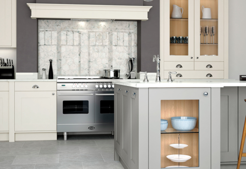 Burleigh painted porcelain stone kitchen island with mantle shelf from Riley James Kitchens Stroud