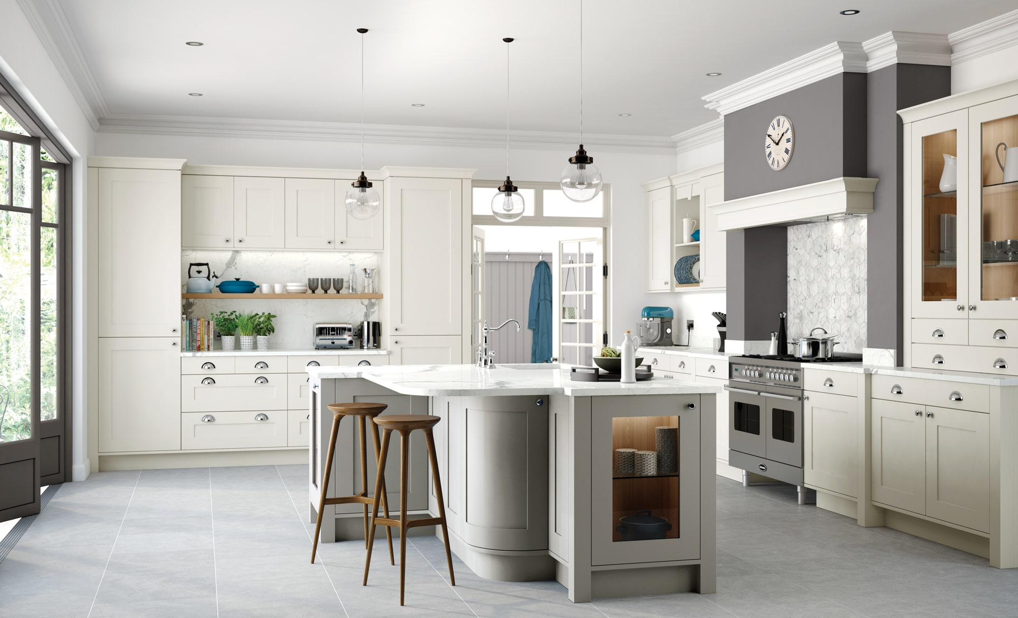 Burleigh painted porcelain stone kitchen main from Riley James Kitchens Gloucestershire