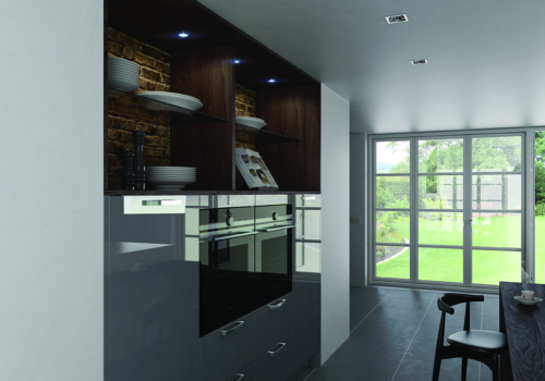 Cerney Gloss Dust Grey Open Shelves, from Riley James Kitchens Stroud