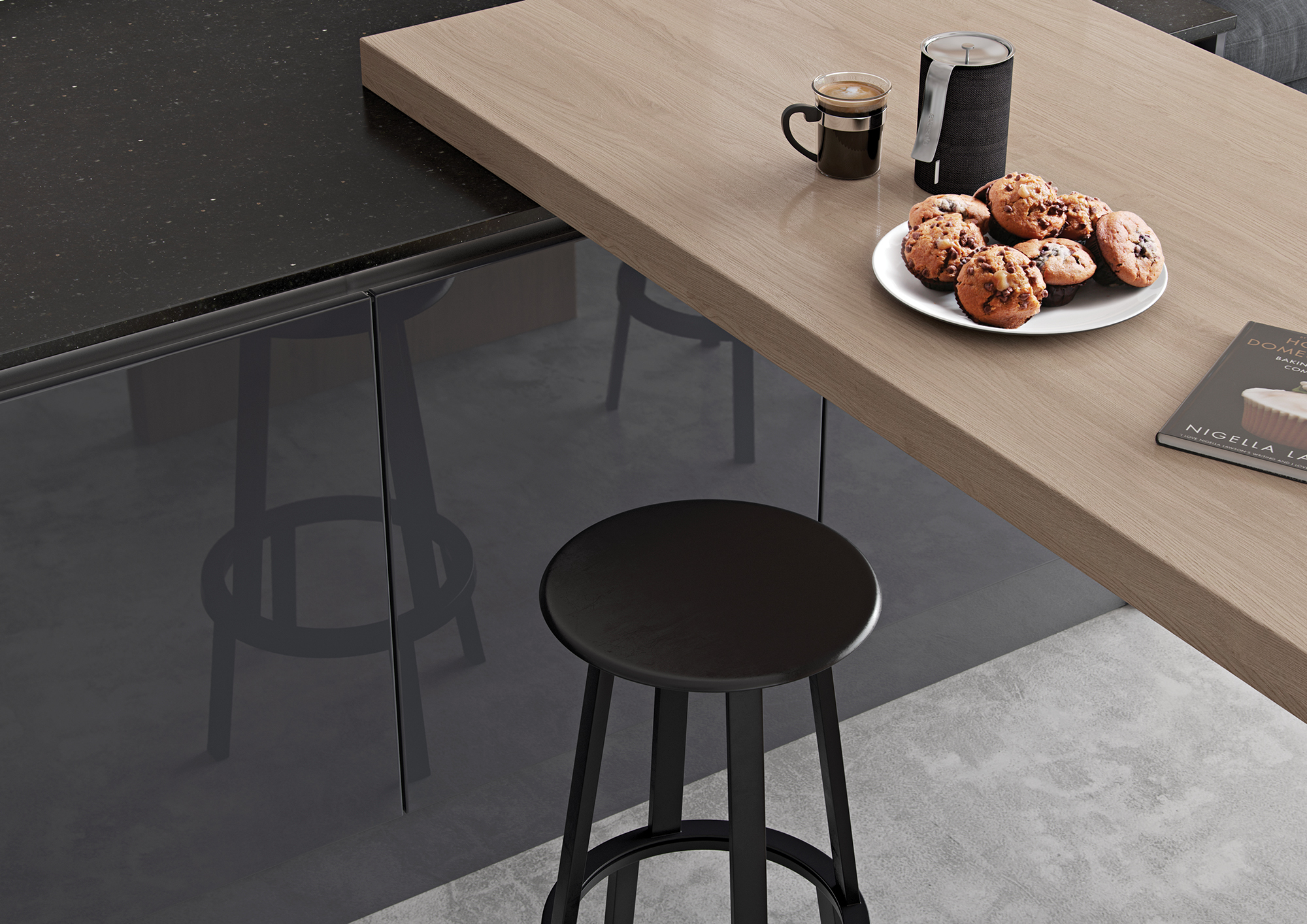 Cerney Gloss Handleless Graphite Cameo 2, from Riley James Kitchens Stroud