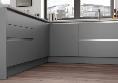 Cerney Matte Handleless Dust Grey, from Riley James Kitchens Stroud