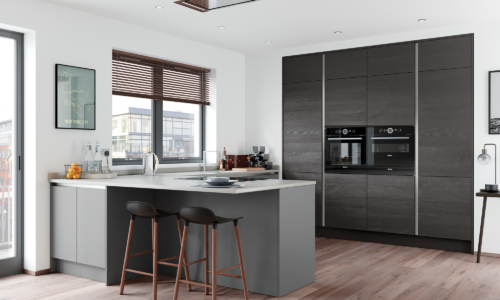 Cerney Matte Handleless Dust Grey and Tetbury Hacienda Black Main Shoot, from Riley James Kitchens Stroud