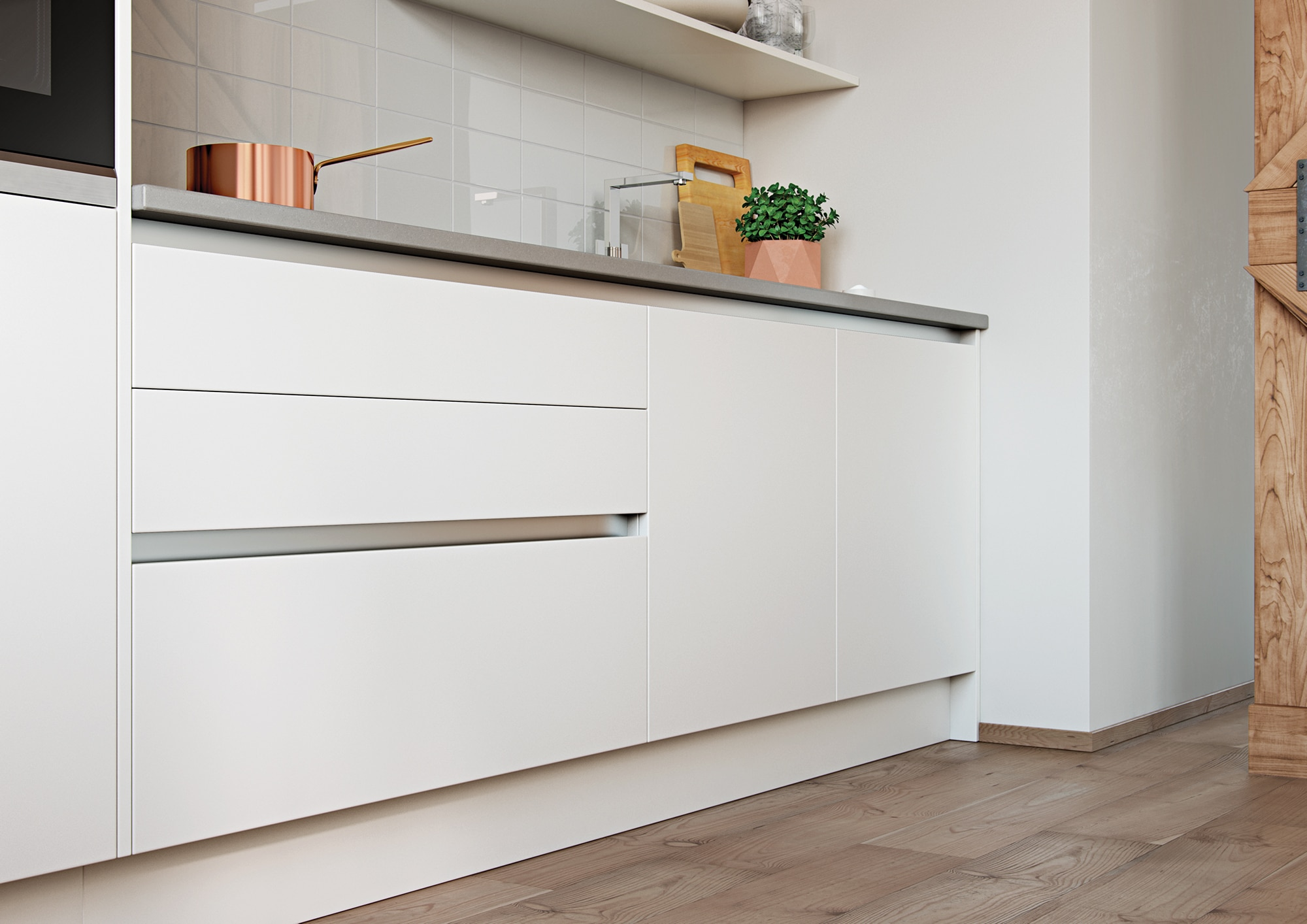 Cerney Matte Handleless White Cameo 1, from Riley James Kitchens Stroud