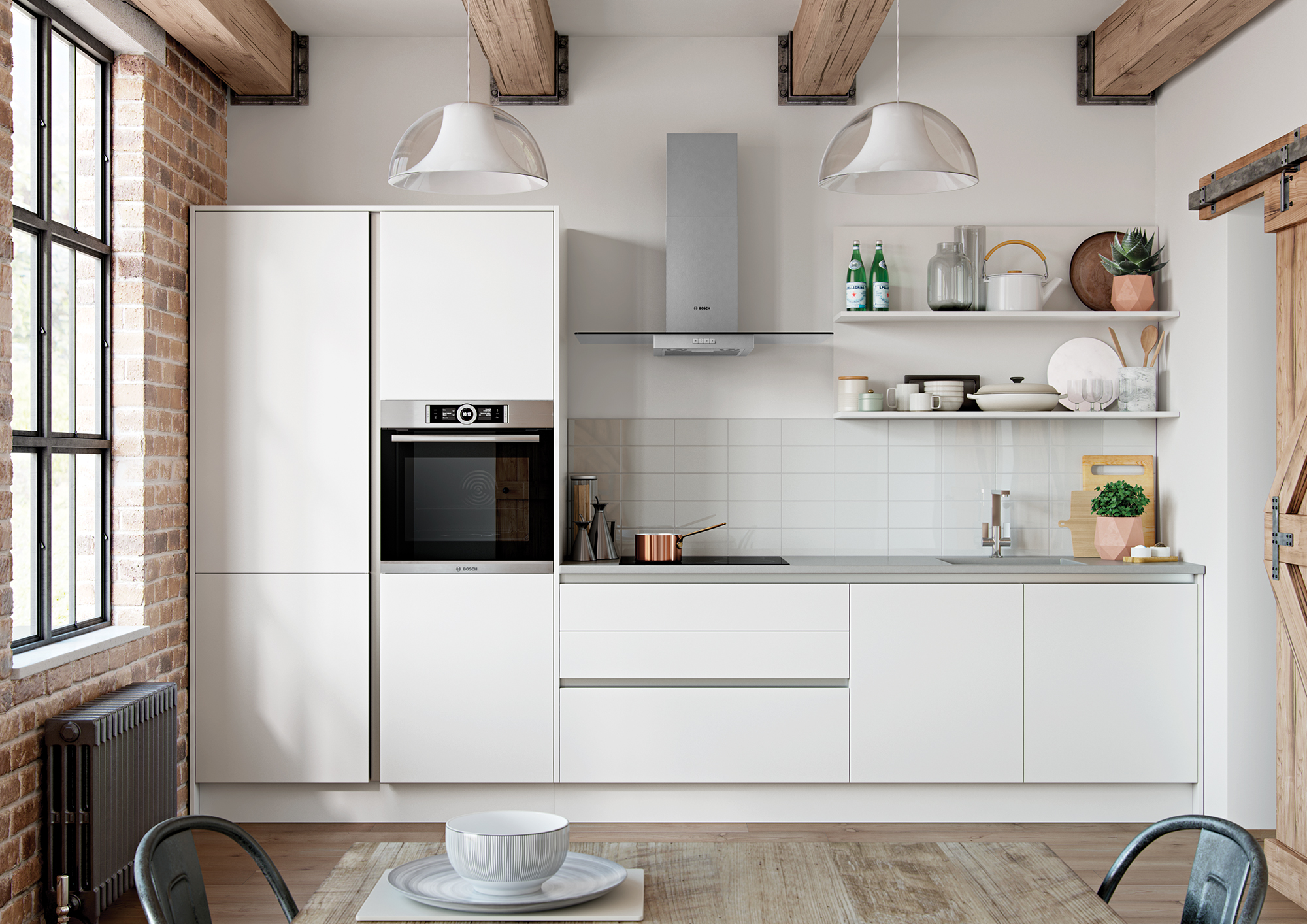 Cerney Matte Handleless White Main Shoot, from Riley James Kitchens Stroud