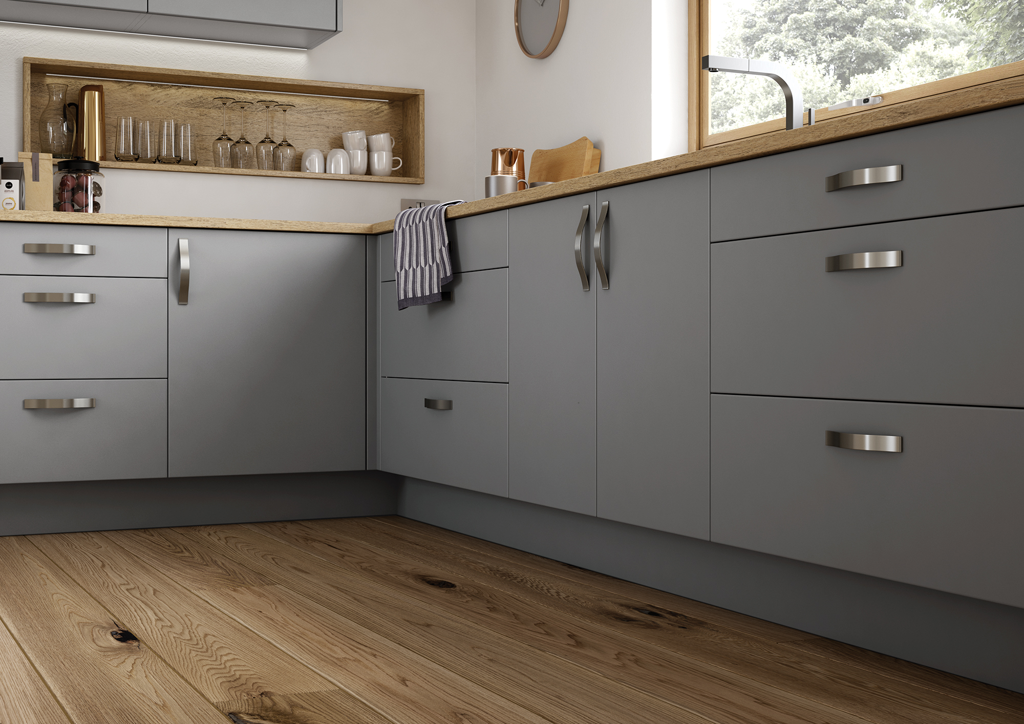 The Cerney Matte Dust Grey Cameo 1, from Riley James Kitchens Stroud