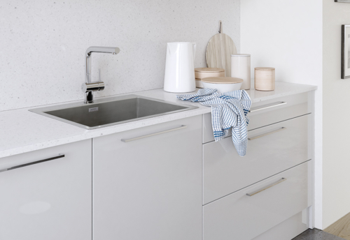 Cerney gloss light grey kitchen cabinets sink, from Riley James Kitchens Stroud