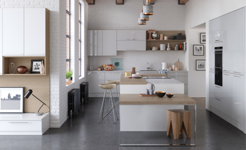 Cerney gloss white light grey kitchen hero B, from Riley James Kitchens Gloucestershire