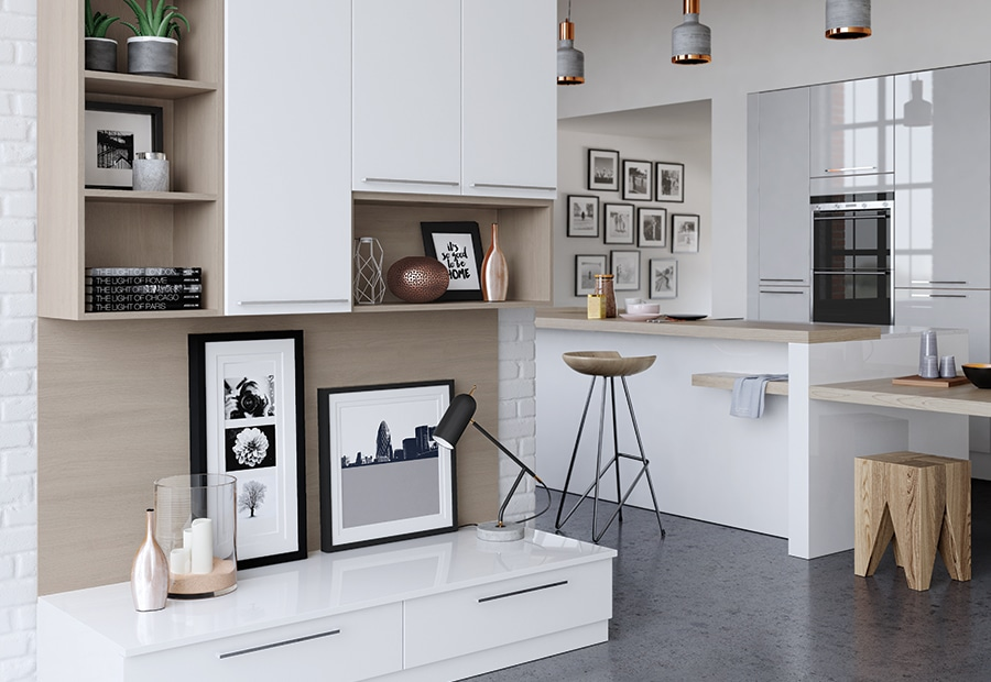 Cerney gloss white light grey kitchen wall cabinets 2, from Riley James Kitchens Stroud