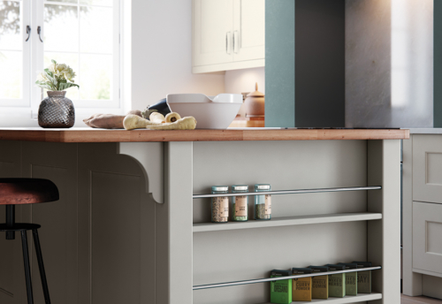 Cherington-painted-porcelain-stone-kitchen-island-spice-rack - from Riley James Kitchens Gloucestershire
