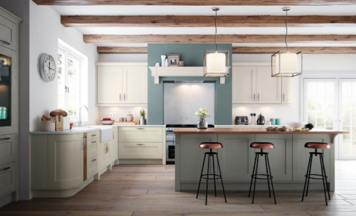 Cherington-painted-porcelain-stone-kitchen-main - from Riley James kitchens Stroud