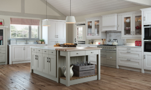 The Cherington-painted-stone-light-grey-kitchen-main - from Riley James Kitchens Stroud