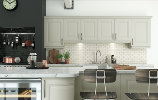 Hampton-painted-mussel-kitchen-island-cabinets from Riley James Kitchens Stroud
