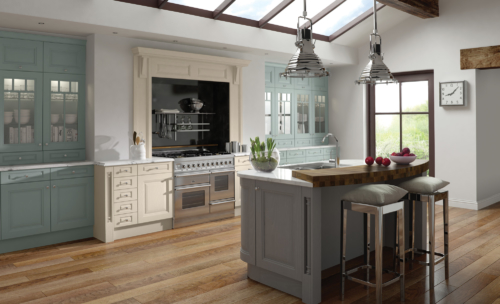 Hampton-painted-powder-blue-ivory-dust-grey-kitchen-hero - from Riley James Kitchens Gloucestershire