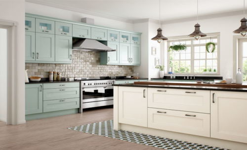 Woodchester Ivory and Powder Blue from riley James Kitchens Stroud