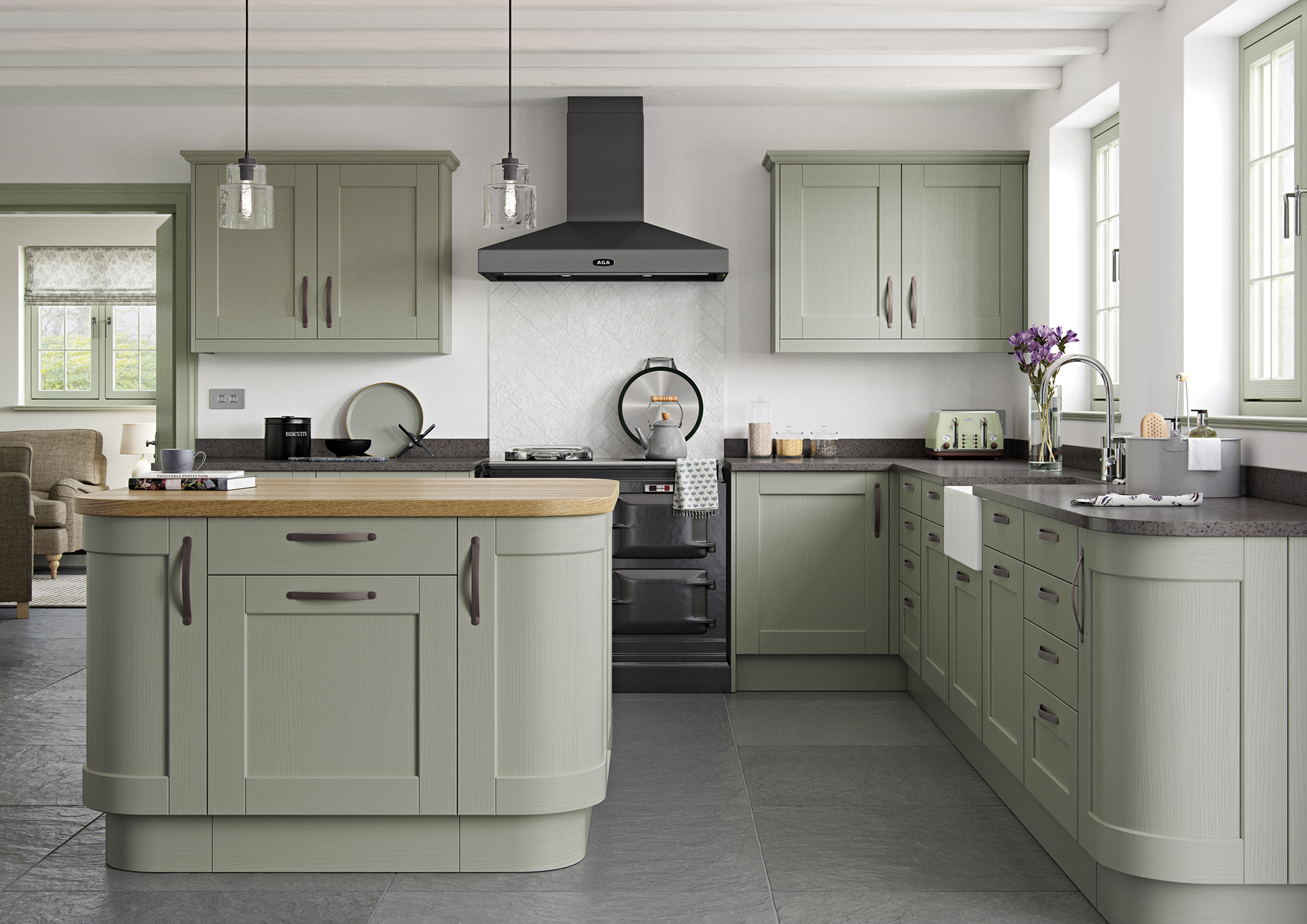 Kemble-Painted-Sage-Green-Main-Shoot - from Riley James Kitchens Stroud