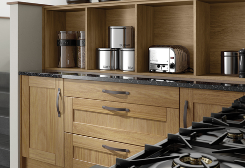 Malborough oak-kitchen-curved-drawers-open-shelves - from Riley James Kitchens Gloucestershire