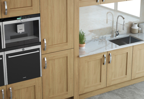 Oakridge oak cabinets from Riley James Kitchens Gloucestershire