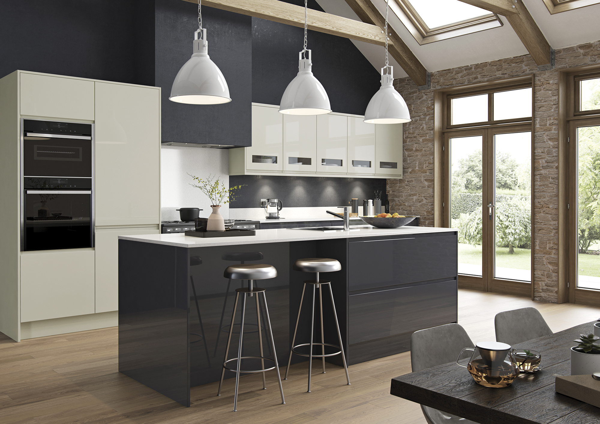 Siddington Gloss Graphite and Porcelain Main Shoot, from Riley James Kitchens Stroud