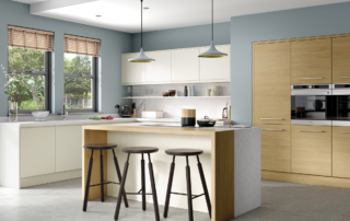 Siddington Matte Porcelain and Tetbury Light Oak Main, from Riley James Kitchens Stroud