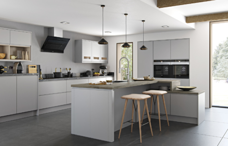Siddington matte painted light grey kitchen hero, from Riley James Kitchens Gloucestershire