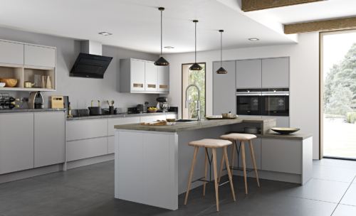 The Siddington matte painted light grey kitchen hero, from Riley James Kitchens Gloucestershire