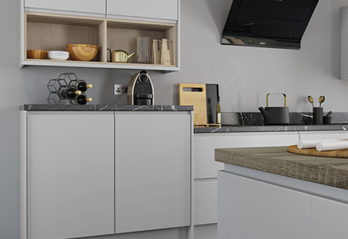 Siddington matte painted light grey kitchen units open shelf, from Riley James Kitchens Gloucestershire