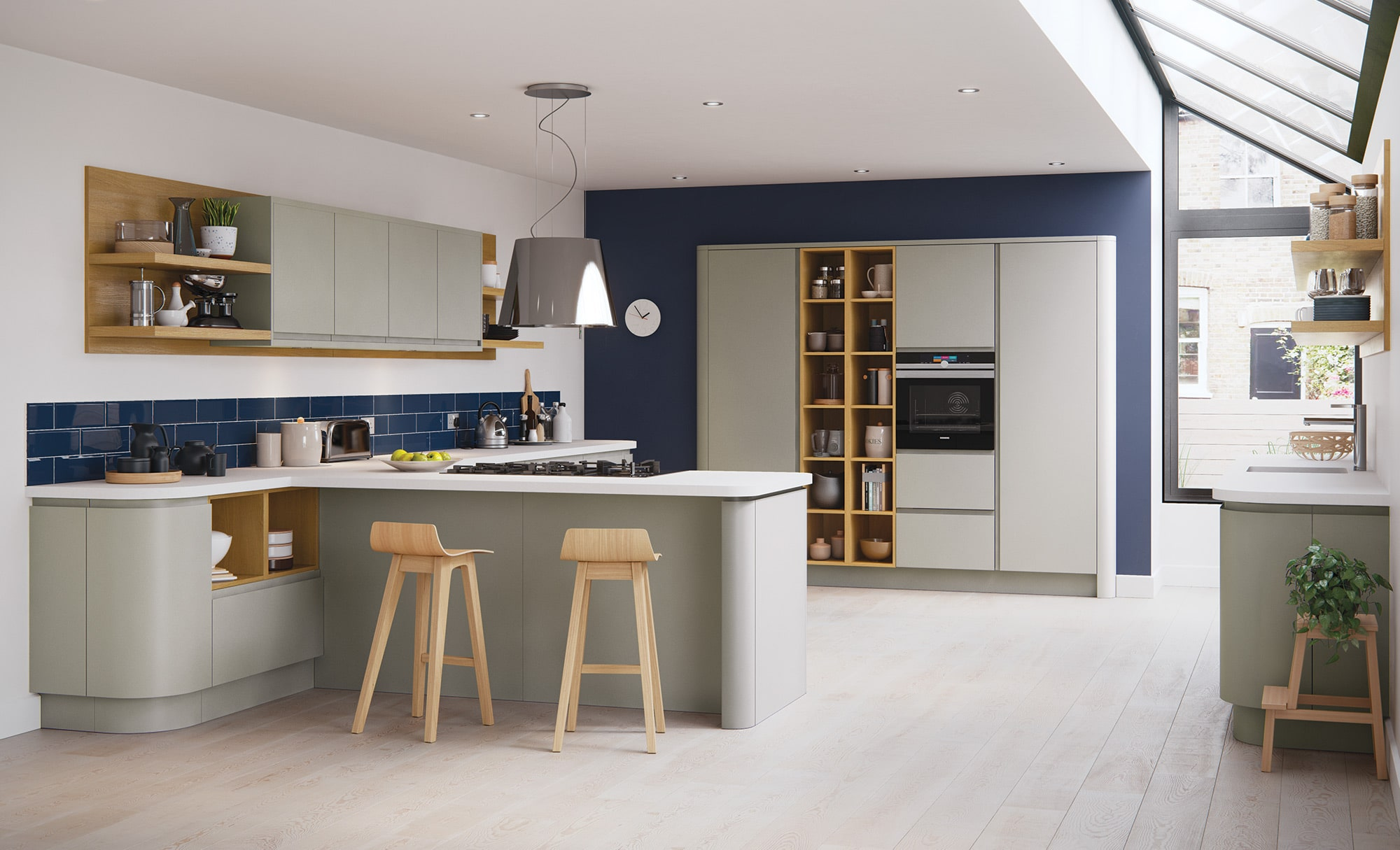 Siddington matte stone painted kitchen hero, from Riley James Kitchens Stroud