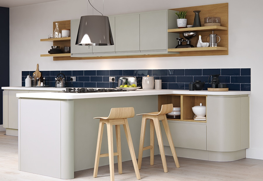 Siddington matte stone painted kitchen quadrant door 2, from Riley James Kitchens Gloucestershire