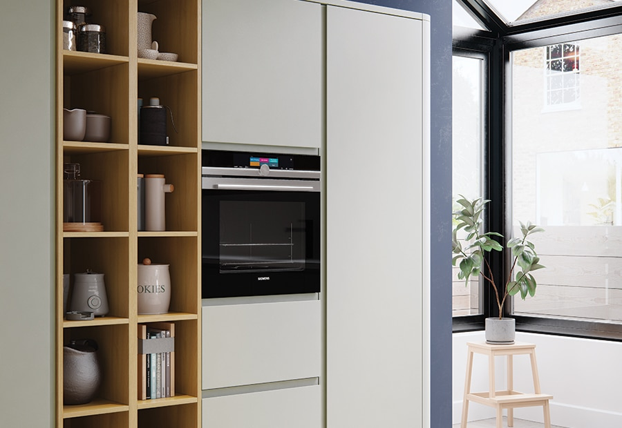 Siddington matte stone painted kitchen wall run open shelves 1, from Riley James Kitchens Gloucestershire