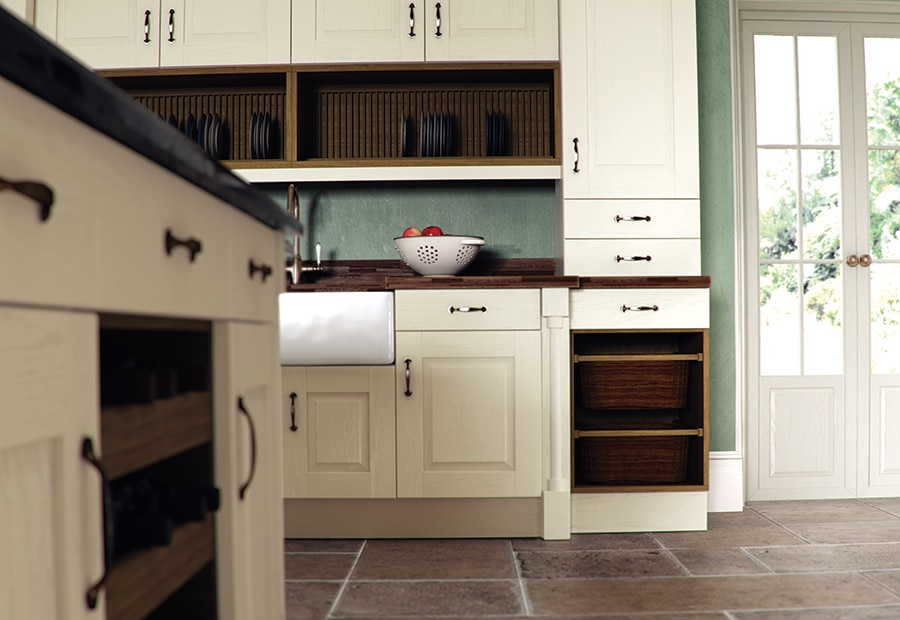 Tewkesbury classic painted ivory kitchen belfast sink and plate rack, from Riley James Kitchens Stroud
