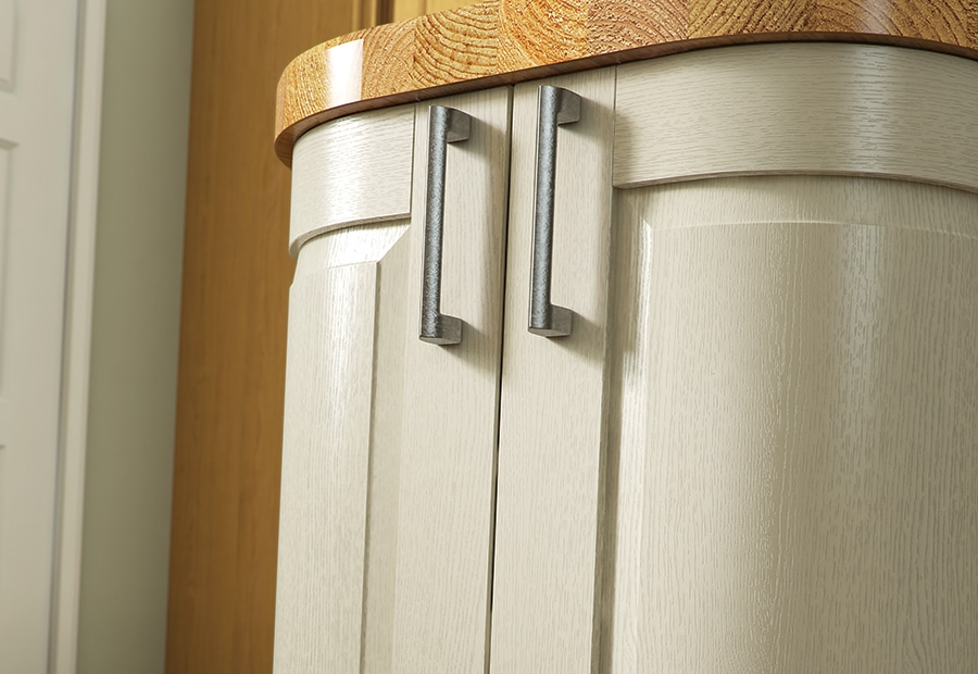 Tewkesbury classic painted ivory kitchen quadrant doors, from Rile James Kitchens Stroud