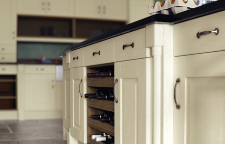 Tewkesbury classic painted ivory kitchen wine rack, from Riley James Kitchens Gloucestershire