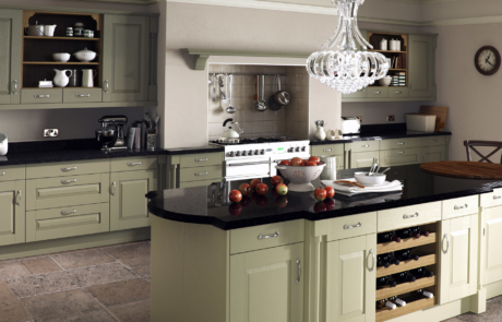 Tewkesbury classic painted olive kitchen hero, from Riley James Kitchens Gloucestershire