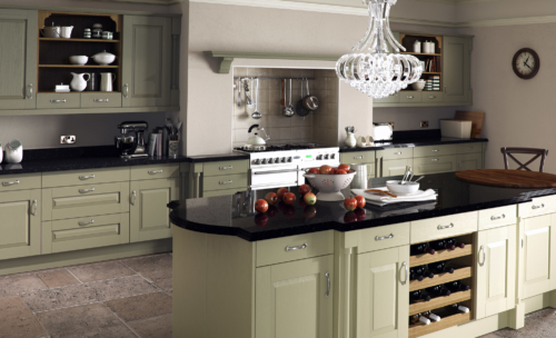 The Tewkesbury classic painted olive kitchen hero, from Riley James Kitchens Gloucestershire