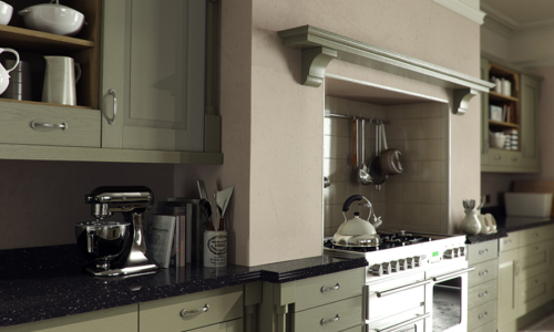 Tewkesbury classic painted olive kitchen mantle corbals, from Riley James Kitchens Stroud