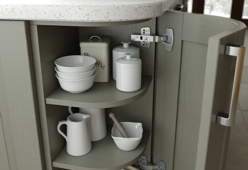 Tewkesbury classic painted olive kitchen quadrant door, from Riley James Kitchens Stroud
