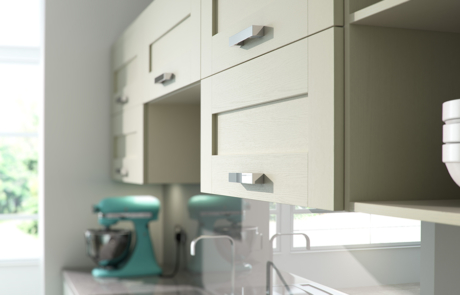 Tewkesbury shaker ivory kitchen wall cabinets, from Riley James Kitchens Stroud