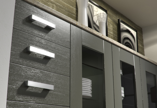 Tewkesbury shaker lava kitchen drawers, from Riley James Kitchens Stroud