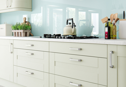 Tewkesbury shaker mussel kitchen cabinets, from Riley James Kitchens Stroud