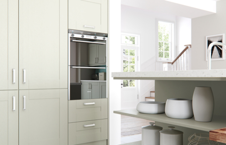 Tewkesbury shaker mussel kitchen shelves cabinets, from Riley James Kitchens Stroud